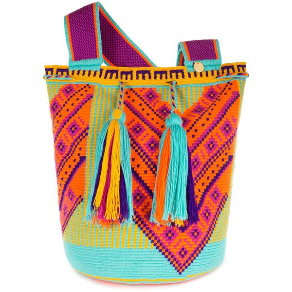 Castellano Ethnic Origins Wayuu Ka'i Beach Bag (9,750 PHP) ❤ liked on Polyvore featuring bags, handbags, tote bags, man travel bag, travel tote, beach tote, travel purse and tote purses
