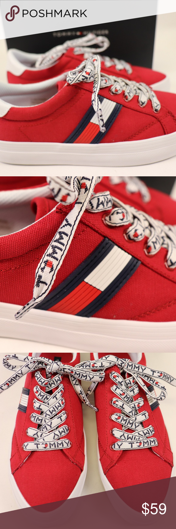 NEW TOMMY HILFIGER Red Canvas Low Top Sneaker NWT Tommy