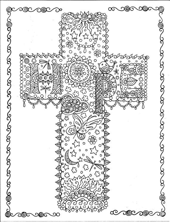 Coloring book of crosses christian art to color and create for Adult coloring pages cross