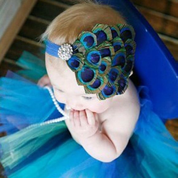 Peacock Feather Headband This is a New Peacock Feather Headband that will fit ages 0-10yrs Accessories Hair Accessories