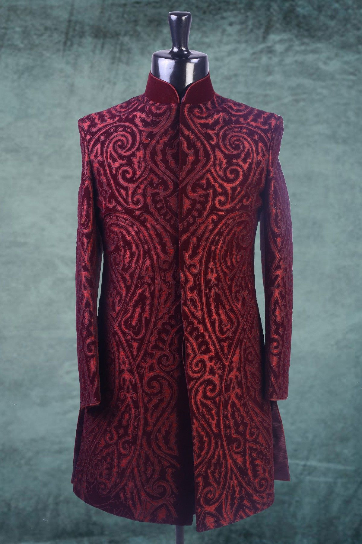 Wine velvet applique worked indowestern sherwani iw wedding