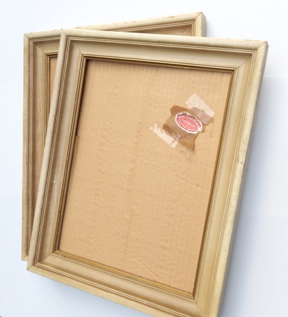 Simply And Beautiful All Wood Frame In Antique Ivory With Inner Gold