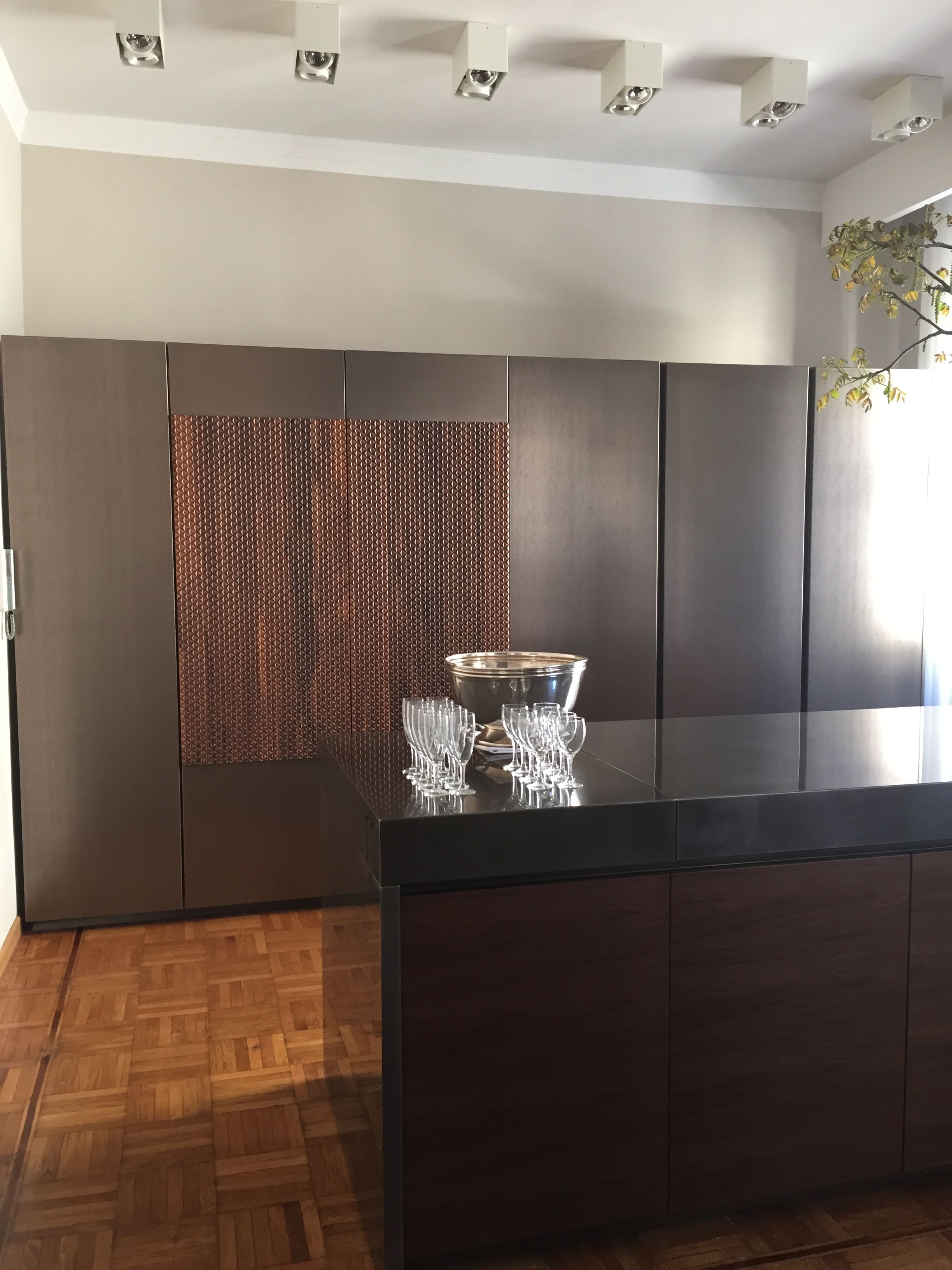 Giorgetti Atelier Showroom Bar/Kitchen set up with the walnut panels ...