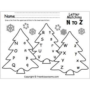 letter matching n to z christmas trees preschool worksheets christmas worksheets letter. Black Bedroom Furniture Sets. Home Design Ideas