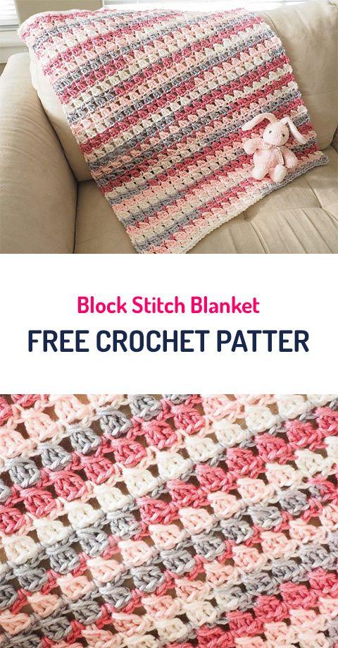 Block Stitch Blanket free Crochet Pattern #crochet #blanket ...