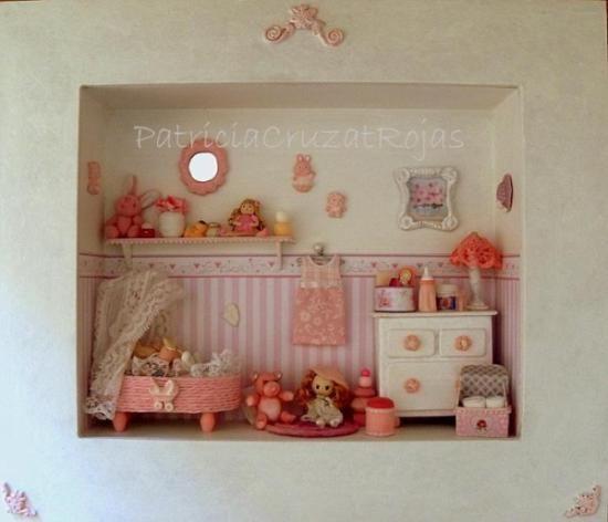 Cuadro miniatura espacio beb ni a personalization - Cuadros para habitaciones de ninas ...