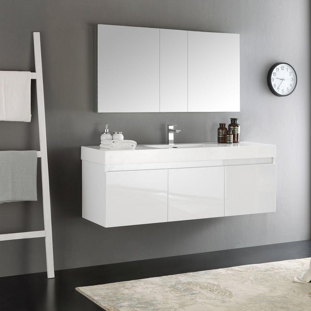 Fresca Mezzo White 60 Inch Wall Hung Single Sink Modern Bathroom