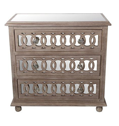 Nice Privilege 88301 3 Drawer Mirrored Accent Chest, Natural |