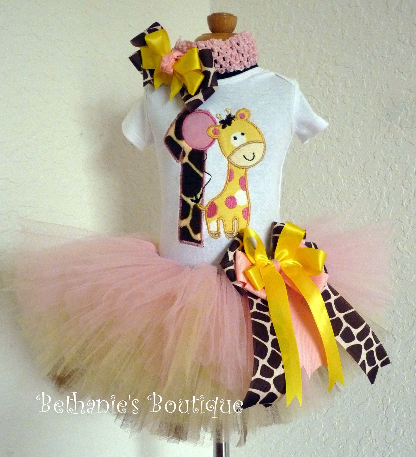 Birthday Giraffe Tutu Set Pink Yellow And Brown. By