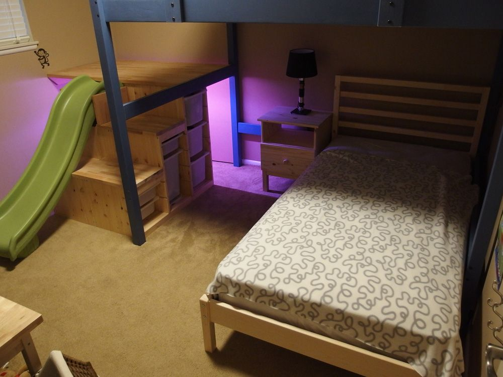 Wowee Full Over Twin Bed With Stairs Slide And Secret Room