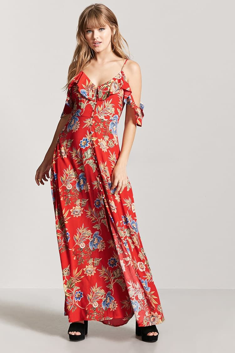 76e5570a4 Vestido Largo Estampado De Flores - Mujer - Vestidos - 2000187697 - Forever  21 EU Español