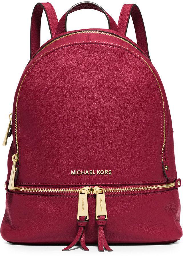 6b72e91553ecd2 ... closeout michael michael kors rhea small leather zip backpack cherry  11fd6 51812 discount code ...