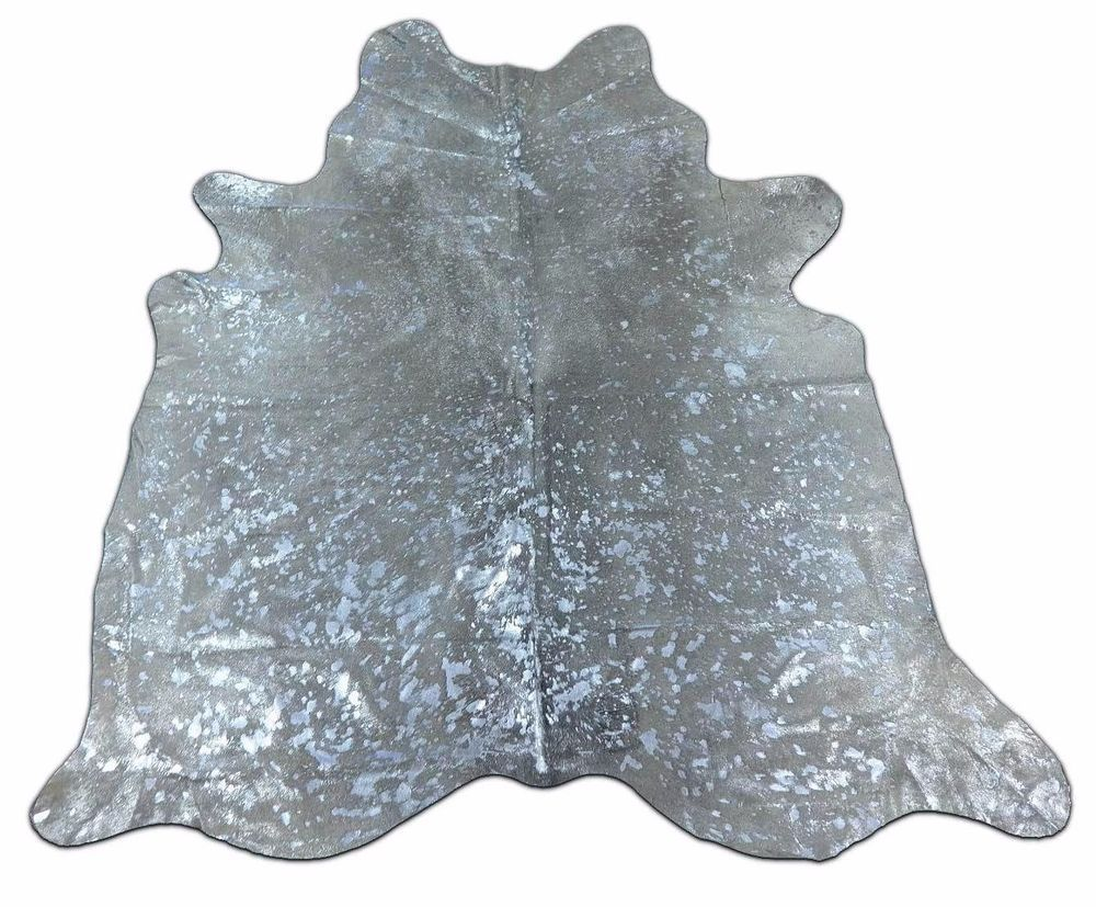 Silver Metallic Cowhide Rug H-489 Acid Washed Silver on Grey cow rug 8' X 7.25'  #CowhidesUSA #AcidWashed