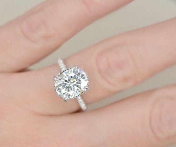 305c392b19b35 10x8 Oval Cut Forever Brilliant Moissanite Engagement Ring on 14K ...