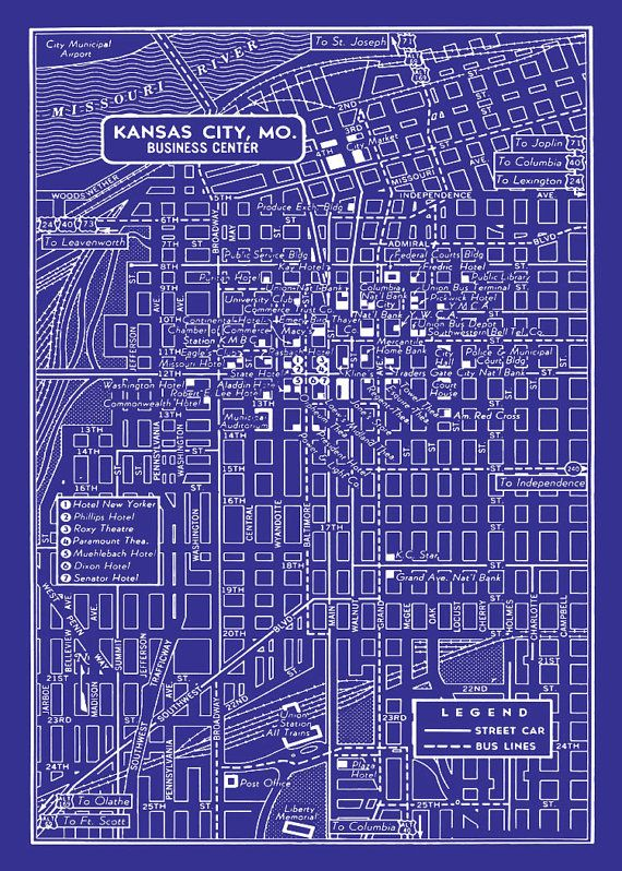1949 Vintage Map of Downtown Kansas City 20x30 Blueprint Map ...