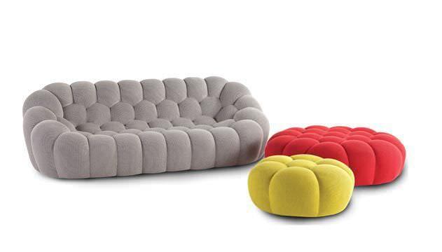 Canapé Design Original En Tissu Gris Multicolore BUBBLE By - Canapé tissu original
