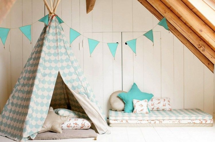kuschelecke im kinderzimmer mit indianer tipi zelt traumhaus luftschloss in 2019 pinterest. Black Bedroom Furniture Sets. Home Design Ideas