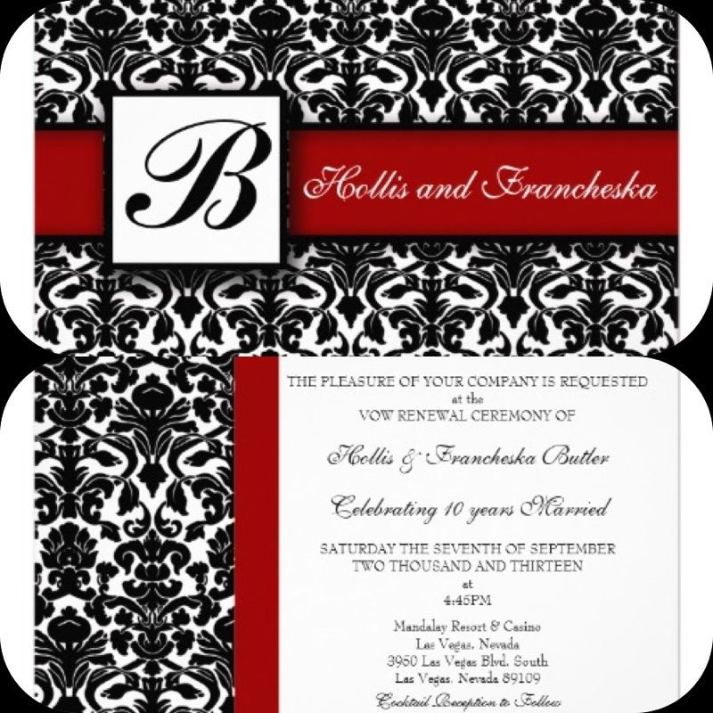 Red Black And White Damask Wedding Invitation Created On Zazzle
