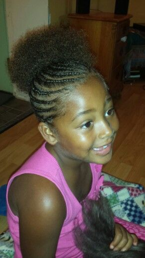 All Natural Afro Puff Cornrow Styles For Little Girls