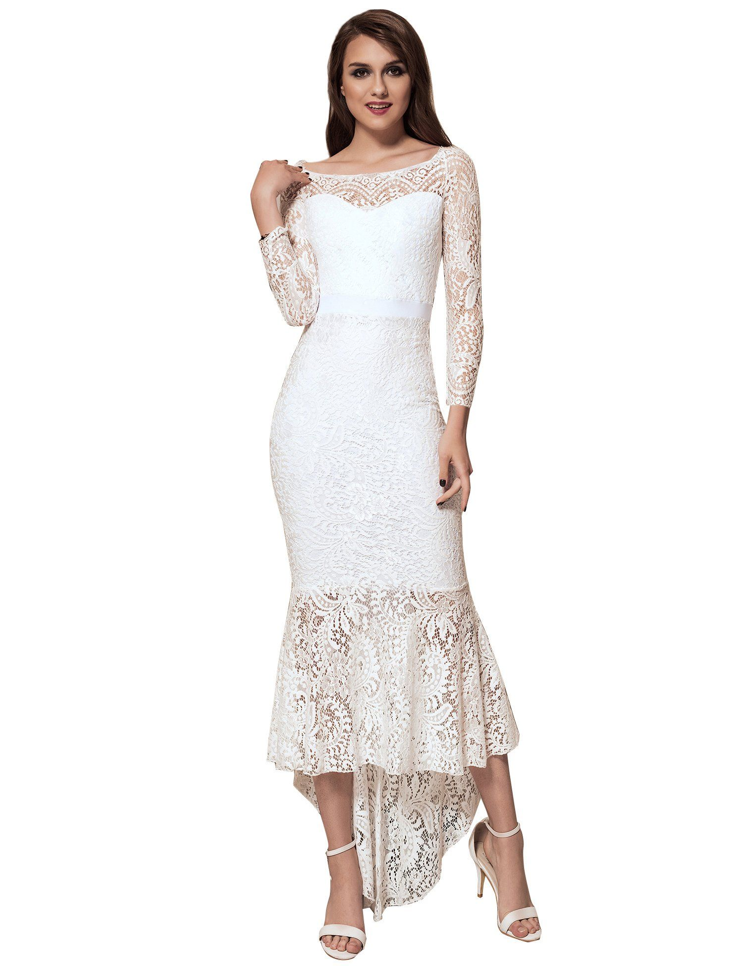3ac891977 ohyeah Women Solid Formal Lace Maxi Dress Long Sleeve Boat Neck Elegant  Party Gown Mermaid Dress XXXLarge=US 1214 White -- Click image for more  details.