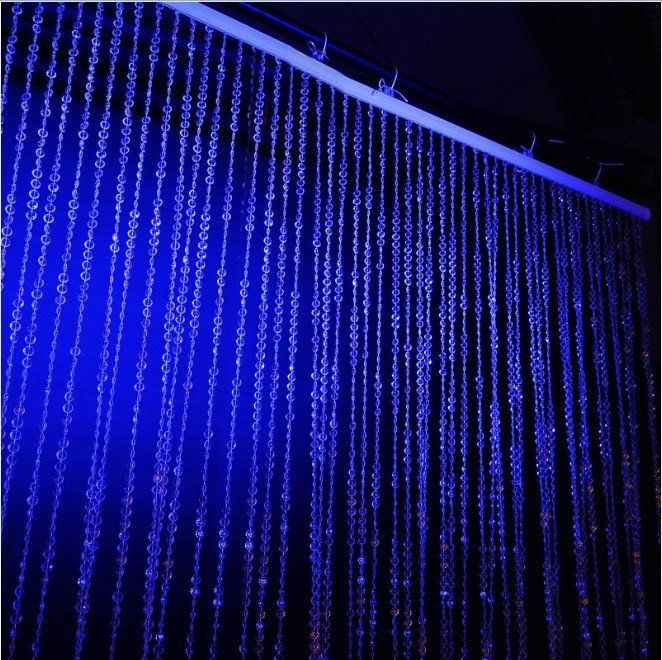 60 Sq Ft Crystal Diamond Beaded Curtain With Metal Rod And