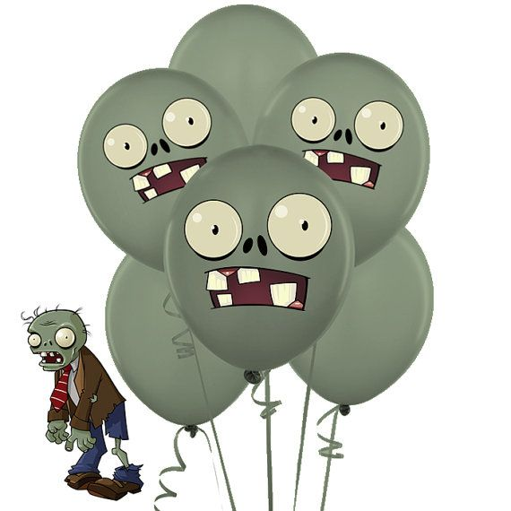 INSTANT DOWNLOAD Zombies Balloons Stickers Plants by sohappyshop PARTY Pinterest Zombie