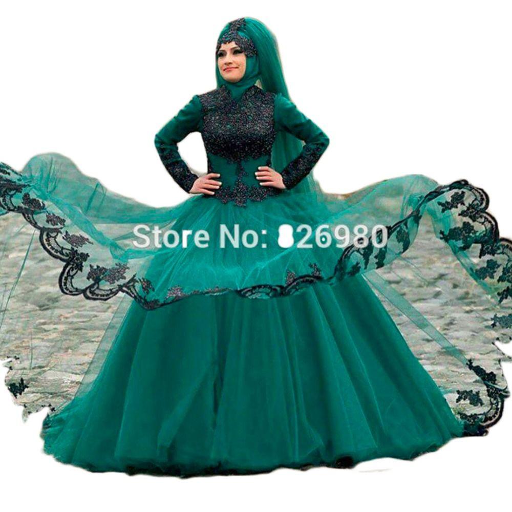 Click to Buy << Long Sleeve Hijab Islamic Wedding Dress 2017 Black ...
