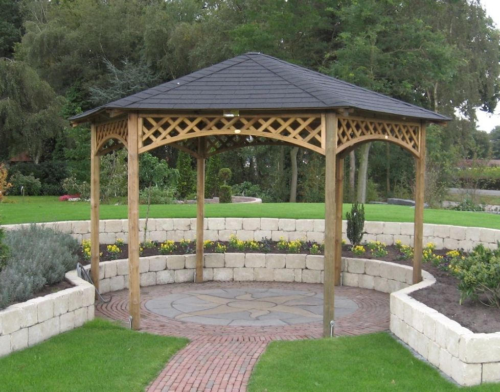 Exterior: Stunning Simple White Gray Wood Gazebo Kits With Low Walls