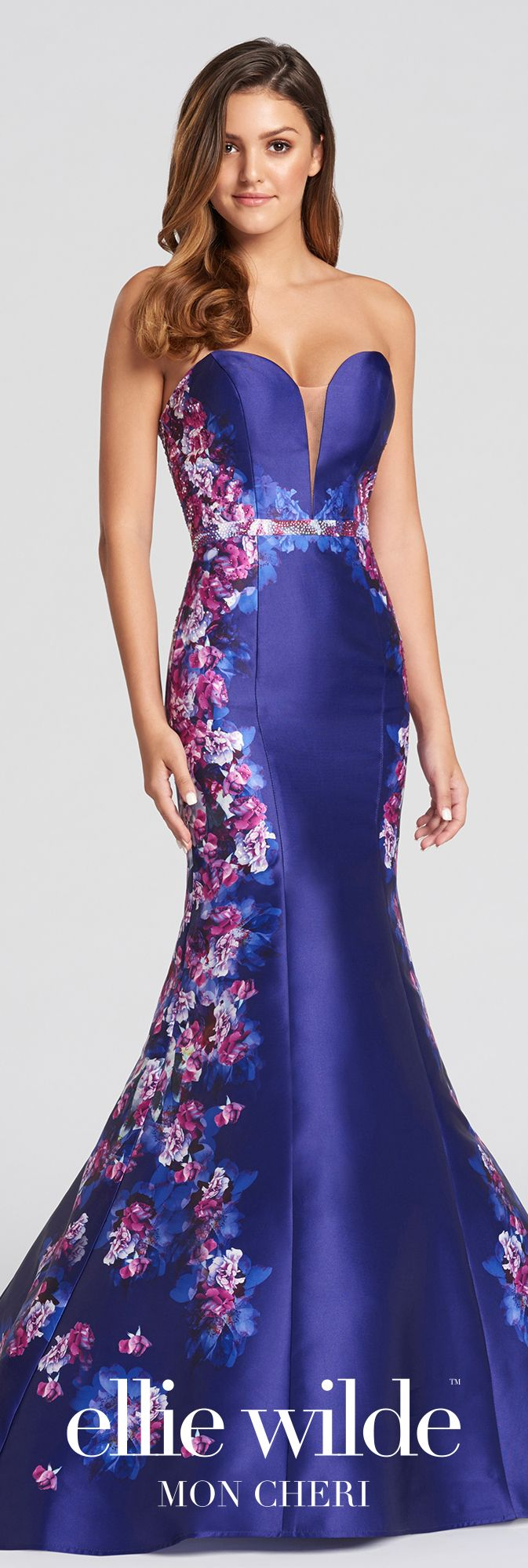 Strapless mikado fit u flare prom dress with a floral skirt