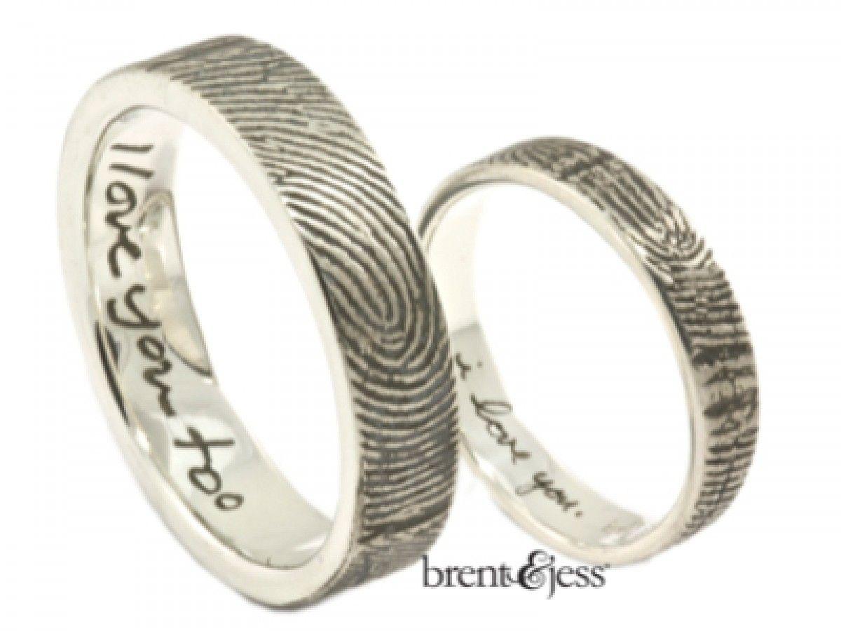 Spectacular Brent u Jess Fingerprint Wedding Rings Custom Handmade Fingerprint