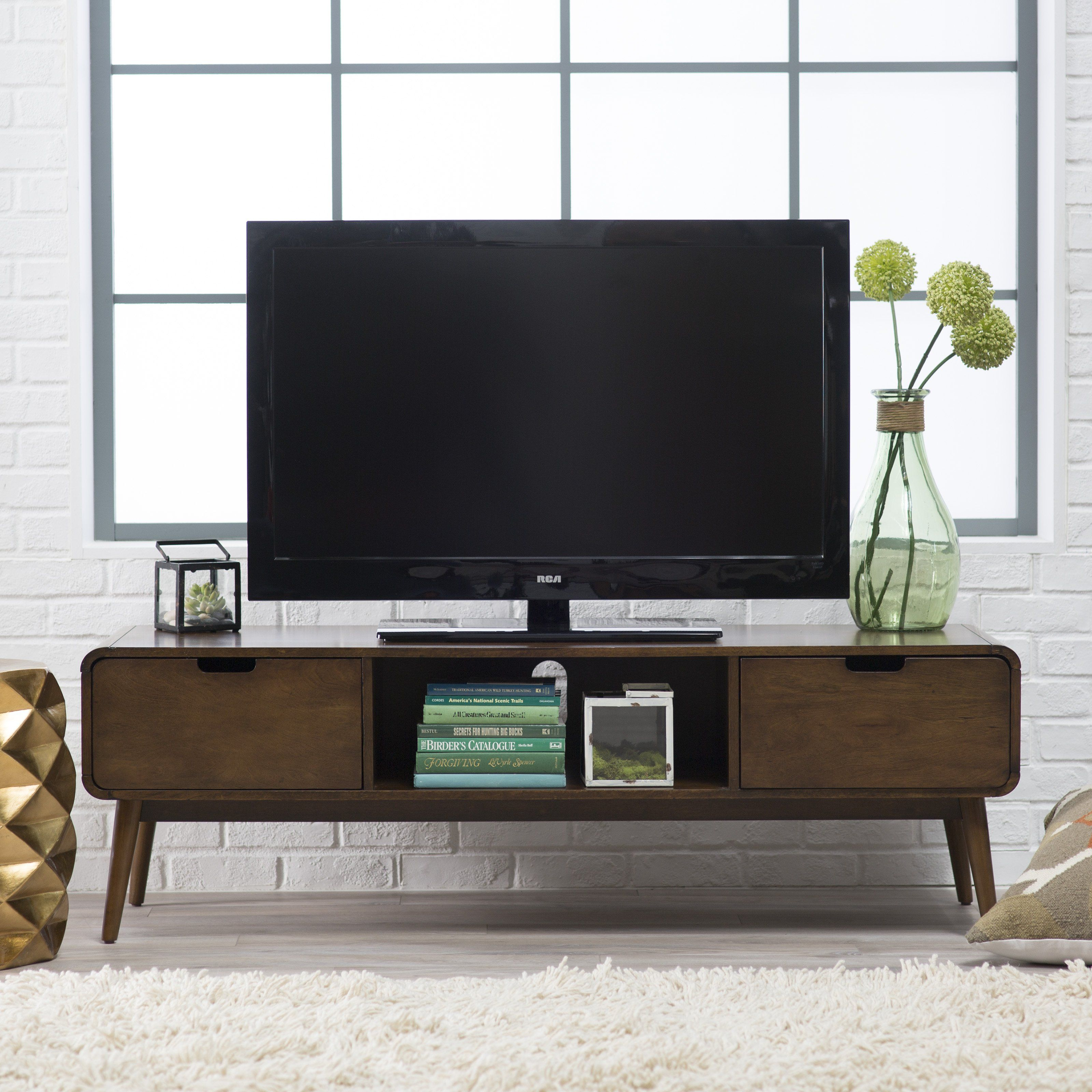 television tables living room furniture. Belham Living Carter Mid Century Modern TV Stand  Stands at Hayneedle