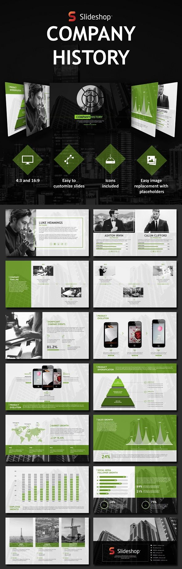Company History  Template History And Presentation Templates
