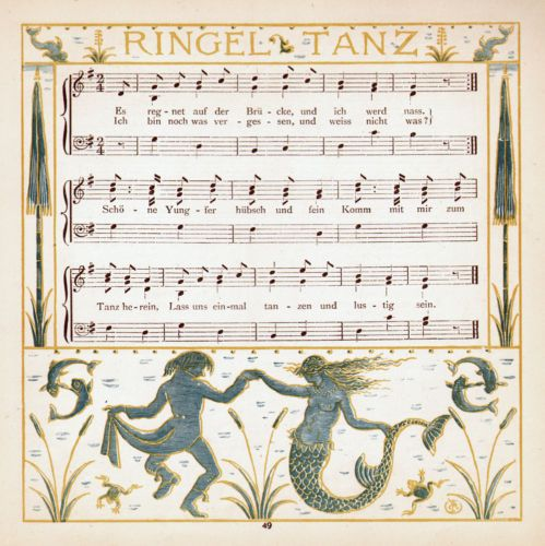 Mermaid Dance MUSIC SHEET Lovely 1870s Chromolith Print