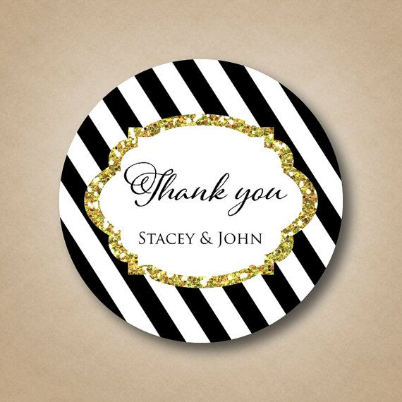 Black And White Striped Sticker Gold Glitter Design Personalized Wedding Favor Labels Custom Stripes Sparkly