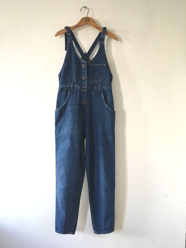 f61694283fe4 vintage v high waist made in USA LEE denim jumpsuit overalls jumper 80s S  romper  fashion  clothing  shoes  accessories  vintage   womensvintageclothing ...