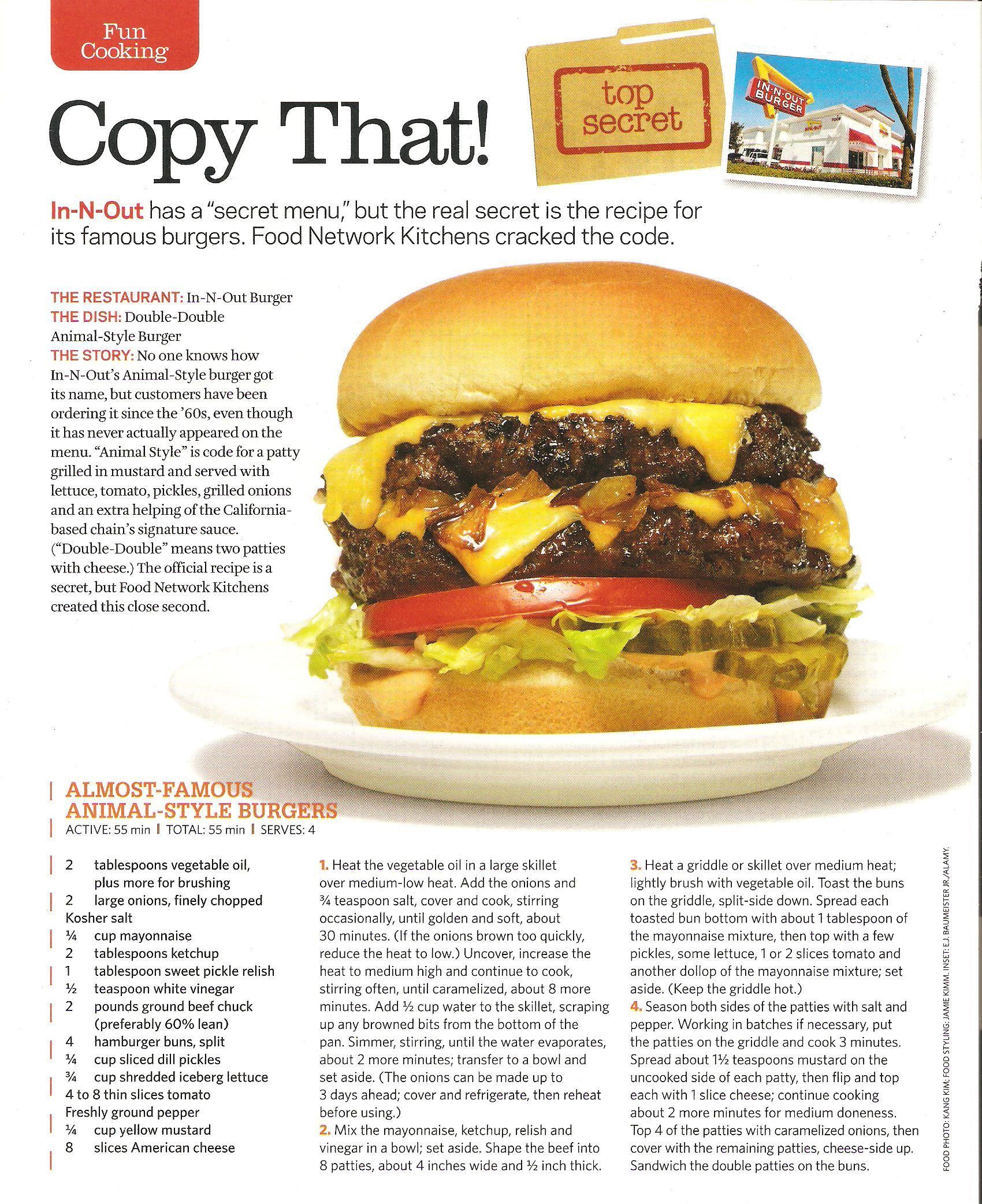 In N Out Burger Copycat Recipe Includes Special Sauce Food Network Recipes Copycat Recipes