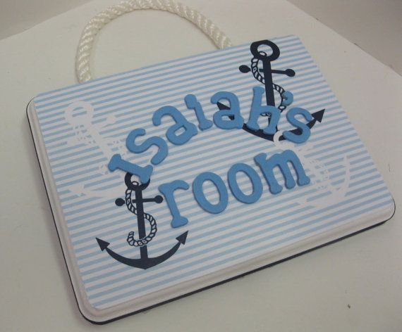 Boys Antique Nautical Anchor Motif Room Plaque with by RibbonMade, $25.00