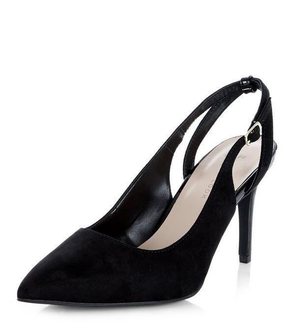 71803626307 Wide Fit Black Suedette Sling Back Pointed Heels