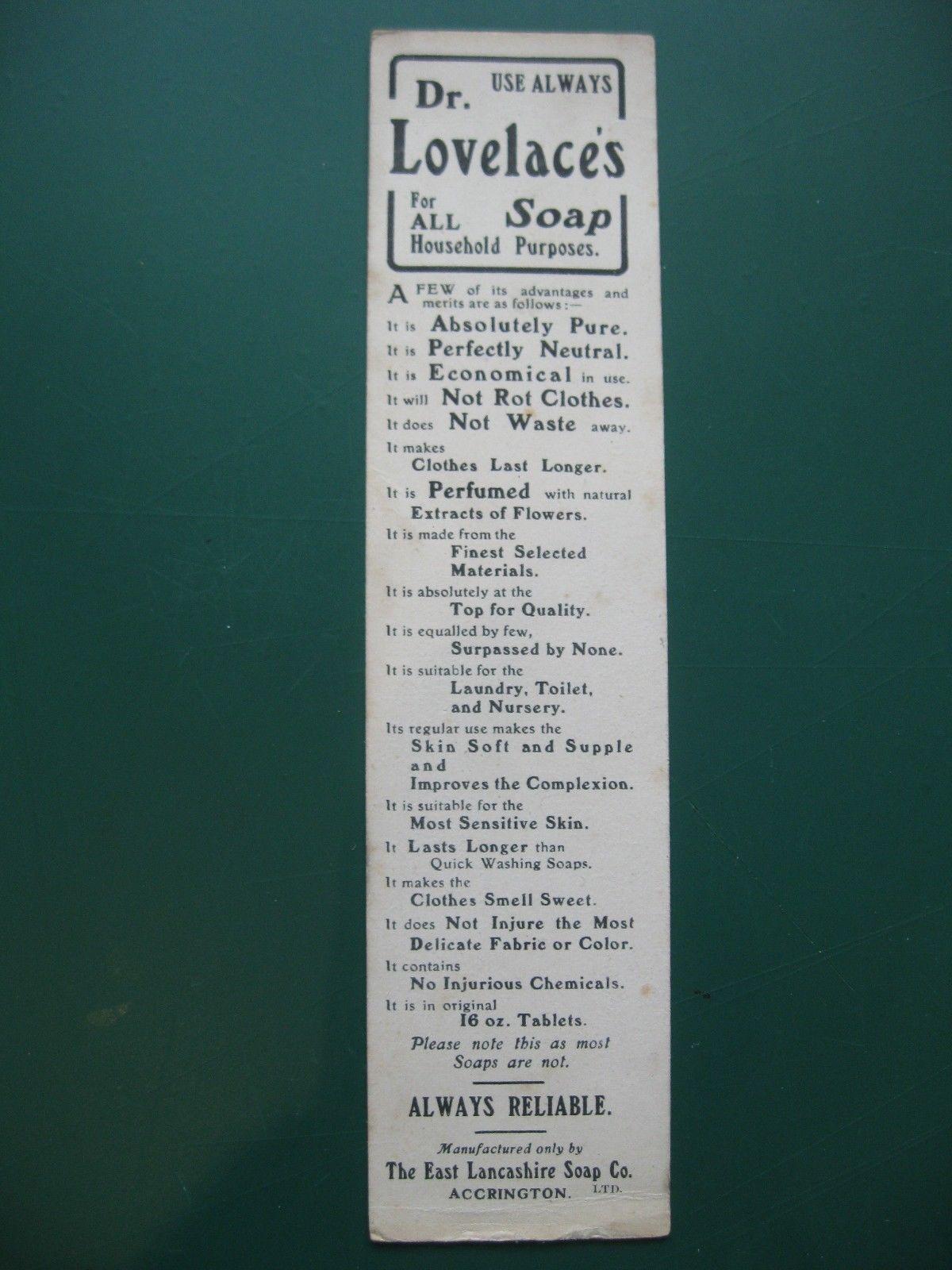 Antique Bookmark DR LOVELACE'S SOAP General Kuroki Japan