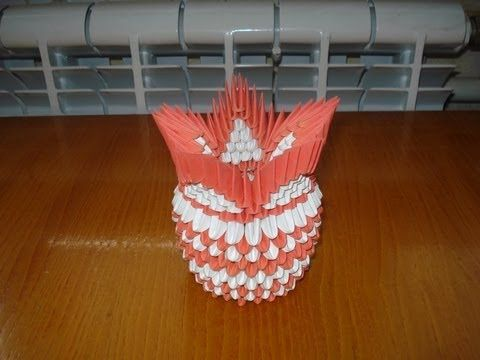 3d Origami Vase Tutorial 4 Youtube Origami 3d Pinterest