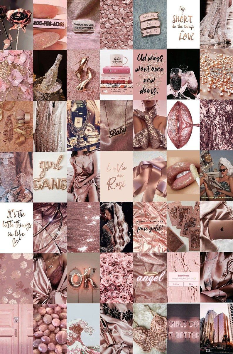 Rose Gold Wall Collage Kit, Aesthetic, Trendy,Rose Gold, Room Decor, College Dorm Wall Decor, Best Value, 4x6 Photos Printed and Shipped