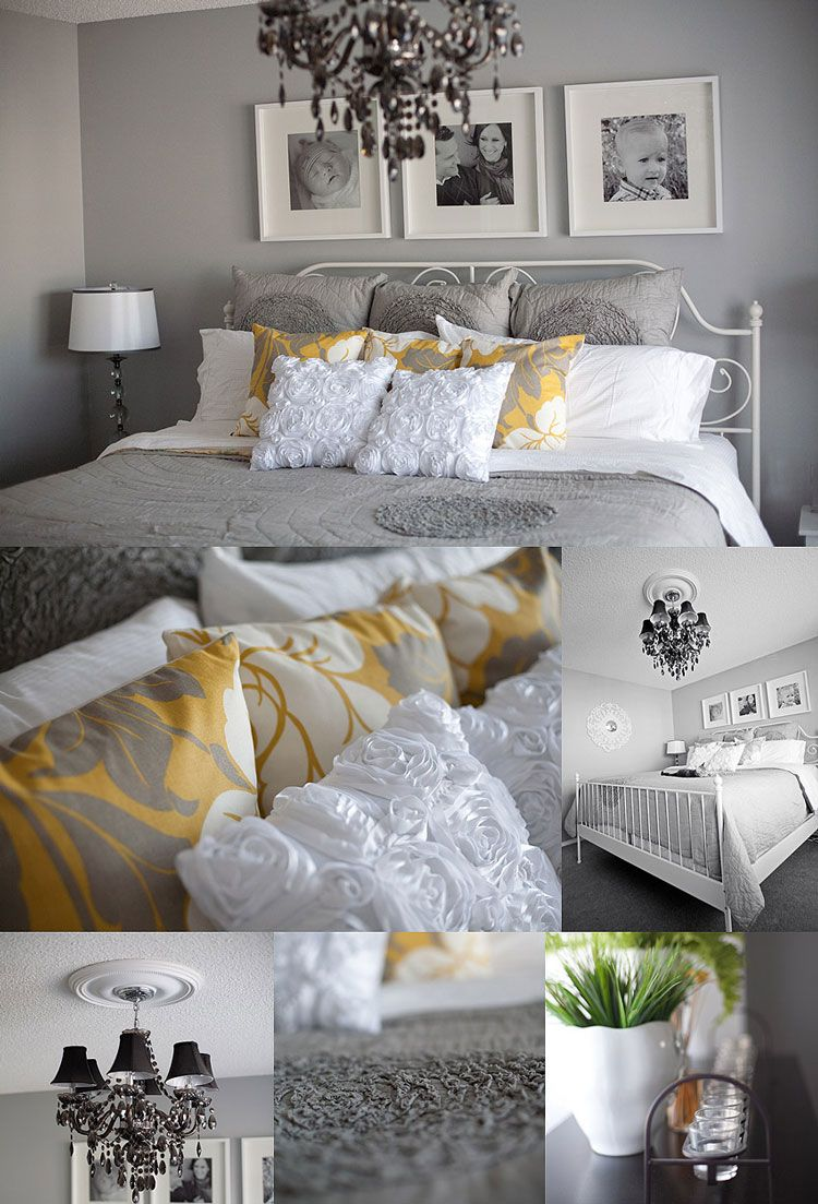 Guest bedroom inspiration. Love the white, grey and yellow ...