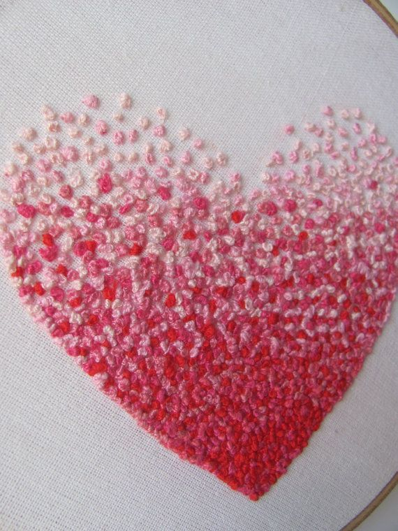 Embroidery french knot pink heart hoop art stitchery