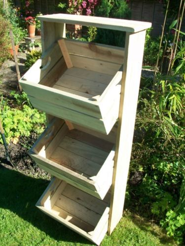 Vintage Style Farmhouse Wooden Apple Crate Herb Garden