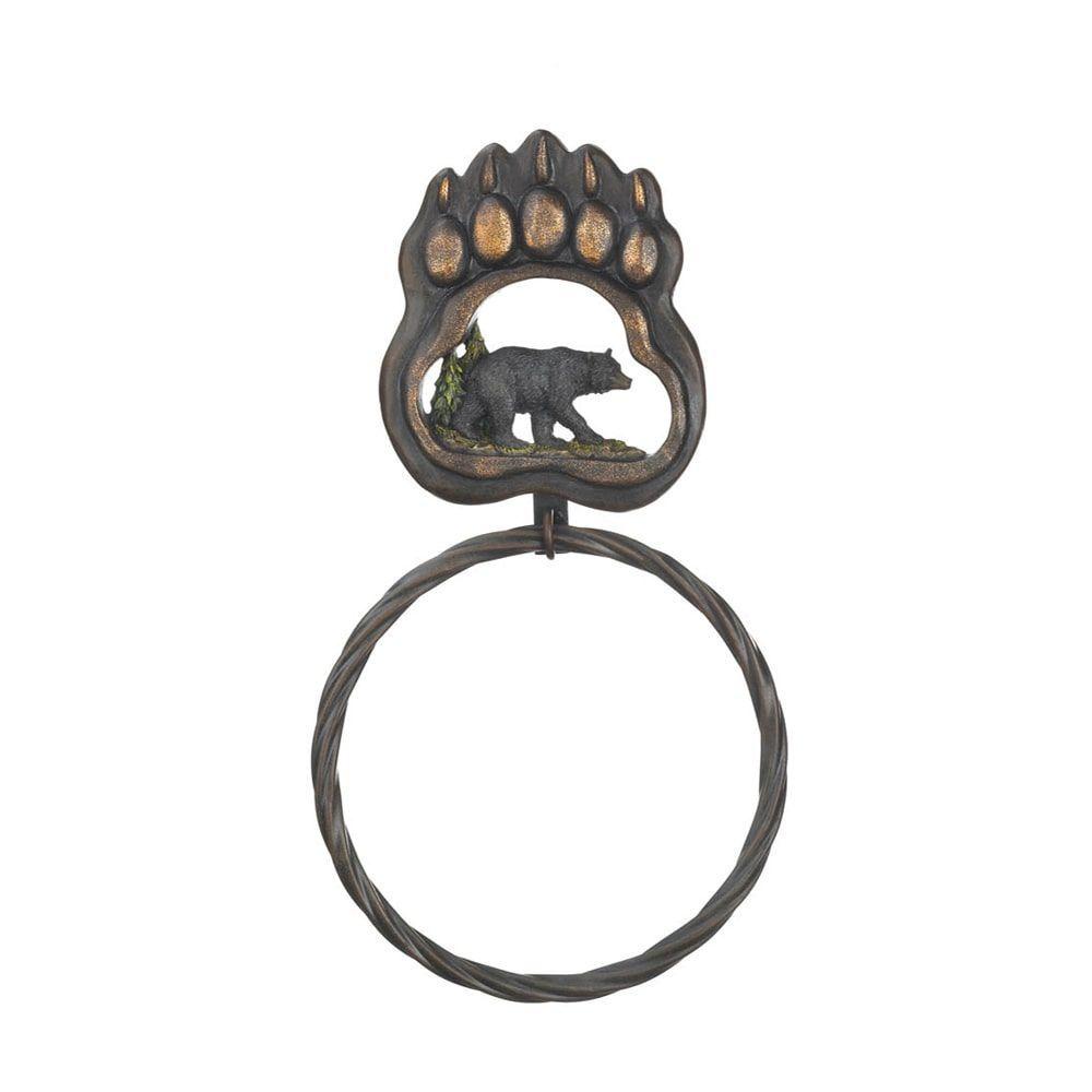 koehler home decor black bear paw towel ring | bear paws, towel