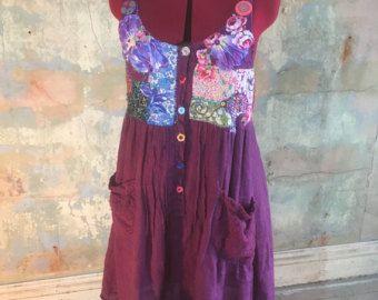 b722500e42 Upcycled Linen Tea Towel Tunic Women Dress Purple Pink Swirly ...