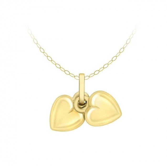 Children's Necklaces:  9K Yellow Gold Double Heart Sweater Kids' Necklaces with Complimentary Gift Box