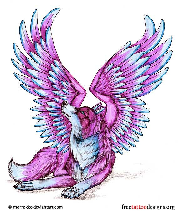 Purple wolf with wings   Anime wolf drawing