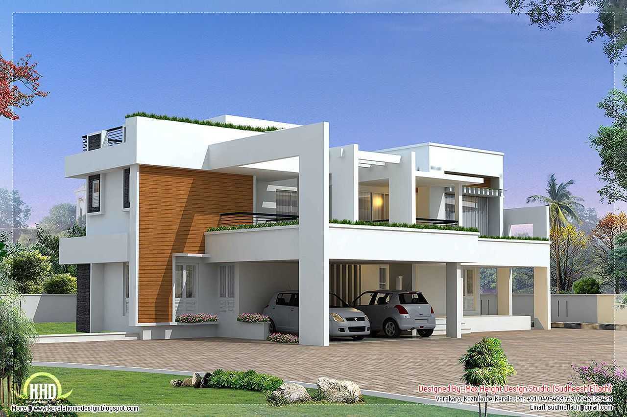 Sq feet modern contemporary villa square feet bedroom for Modern floor plans for new homes