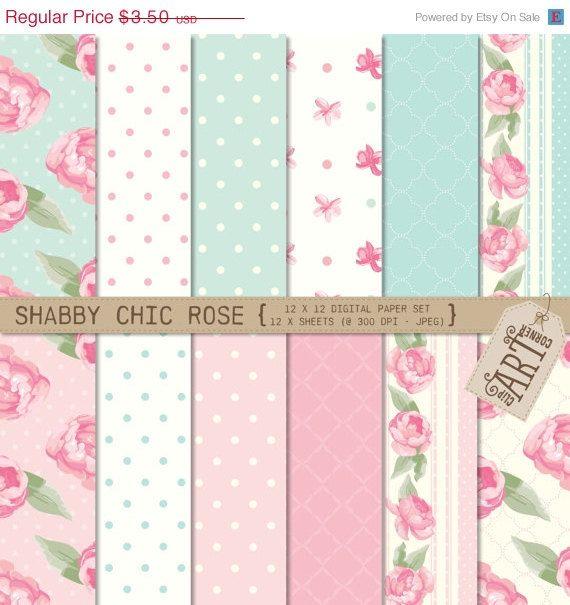Sensational Holiday Sale Digital Paper Shabby Chic Rose Dp 6594 Beutiful Home Inspiration Xortanetmahrainfo